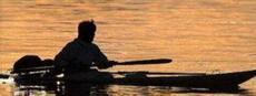 Erwan remontant l'Odet en kayak